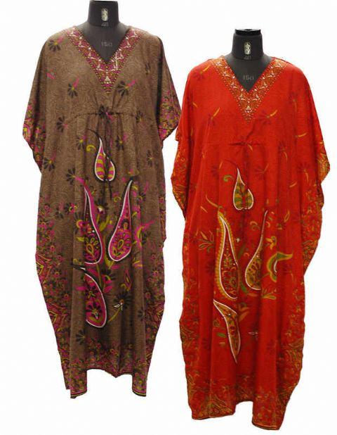 Hippy Kaftan~Bohemian Ethnic Paisley Print Long Loose Fit Kaftan Summer Beach Cover Up~Fair Trade by Folio Gothic Hippy~Viscose Kaftan 2